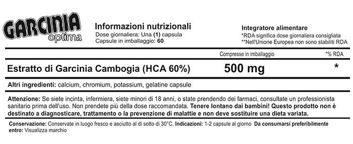 Etichetta Garcinia Optima