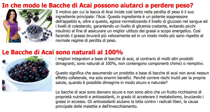 Bacche Acai - Proprietà: Dimagrire e Perdere Peso